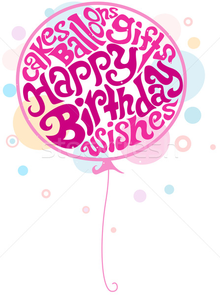 Anniversaire ballon illustration texte écrit Photo stock © lenm