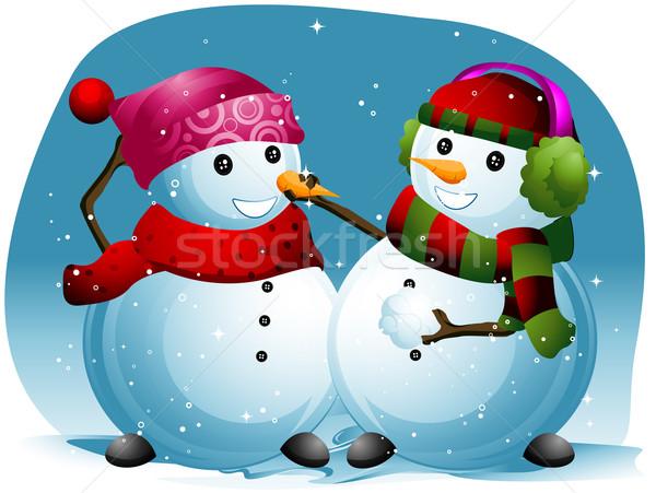 Utile pupazzo di neve illustrazione un altro inverno Foto d'archivio © lenm