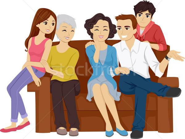 Rodziny klejenie ilustracja posiedzenia sofa kobieta Zdjęcia stock © lenm