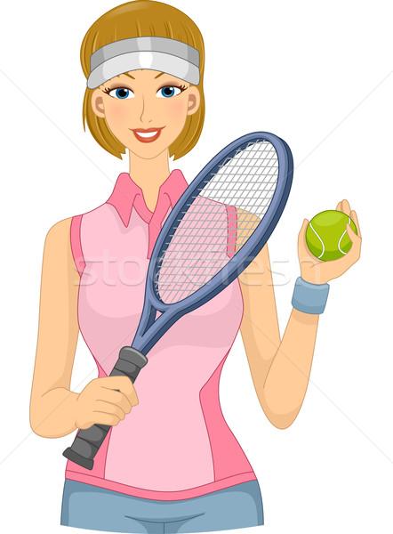 Lawn Tennis Player Girl Stock photo © lenm