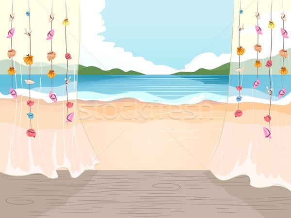 Praia ver casa de campo ilustração verão oceano Foto stock © lenm