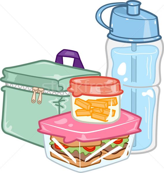 Gyerekek ebéd doboz illusztráció óvatosan előkészített Stock fotó © lenm