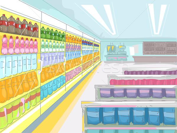 Kényelmesség bolt illusztráció széles tömb termékek Stock fotó © lenm