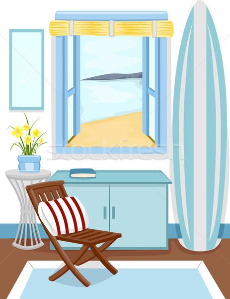 Playa cabina interior ventana vista ilustración Foto stock © lenm