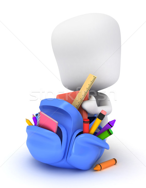 Kid 3d illustration choses école livres Photo stock © lenm
