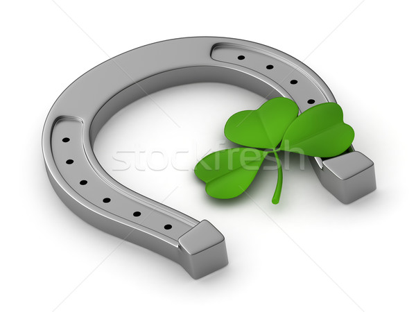Yonca at nalı 3d illustration imzalamak yeşil tatil Stok fotoğraf © lenm