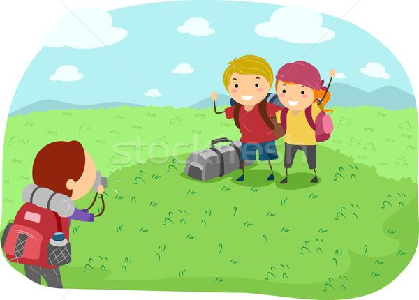 Acampamento foto ilustração fotos crianças Foto stock © lenm