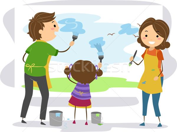 Family Painting Stock photo © lenm