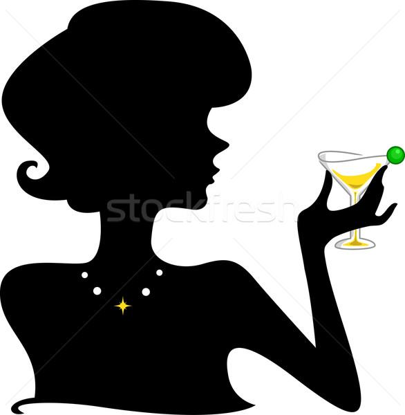 Cocktail silhouette ragazza bicchiere di vino donna Foto d'archivio © lenm