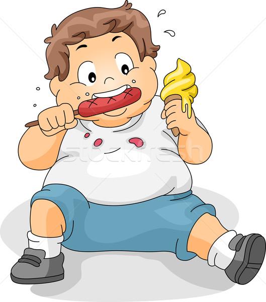 Sobrepeso nino comer ilustración salud nino Foto stock © lenm