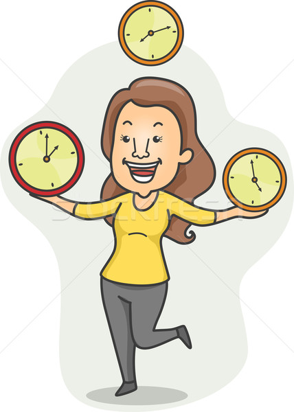 Wielozadaniowość dziewczyna ilustracja żonglerka czasu pracy Zdjęcia stock © lenm