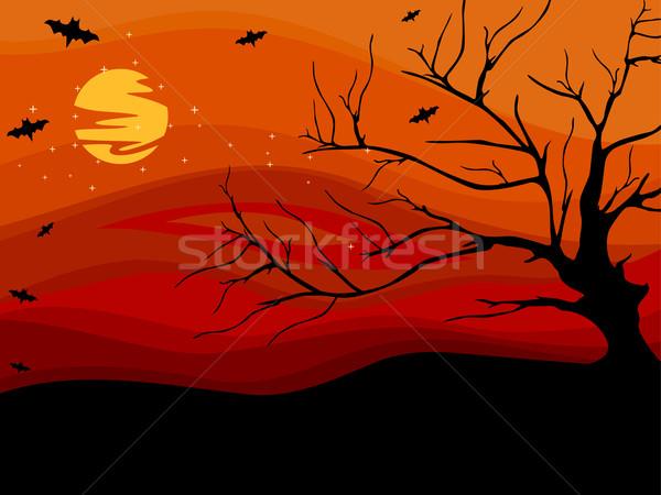 ハロウィン ツリー 背景 実例 シルエット 枯れ木 ストックフォト © lenm