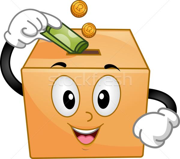 Doação caixa mascote ilustração moedas papel Foto stock © lenm