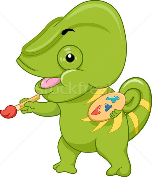 Camaleão pintura ilustração cor paleta Foto stock © lenm
