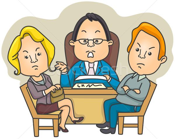 Divorce femme famille avocat cartoon Photo stock © lenm