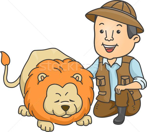 Сток-фото: Safari · иллюстрация · лев · работу · животного · мужчины