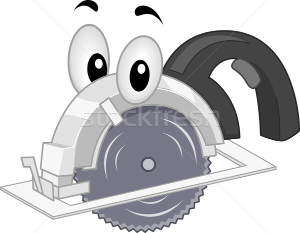 Portátil serra mascote ilustração construção Foto stock © lenm