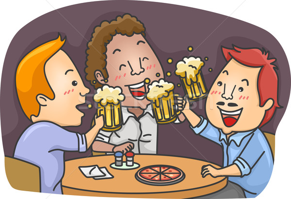 Uomini pub illustrazione bere birra amici Foto d'archivio © lenm