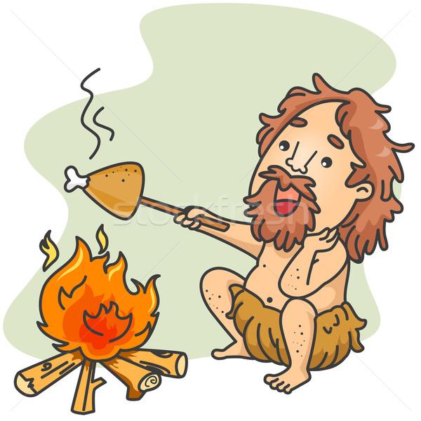 Höhlenmensch Koch Illustration Stück Huhn Kochen Stock foto © lenm