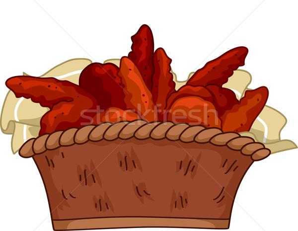 Buffalo wings illustratie mand vlees vleugels fast food Stockfoto © lenm