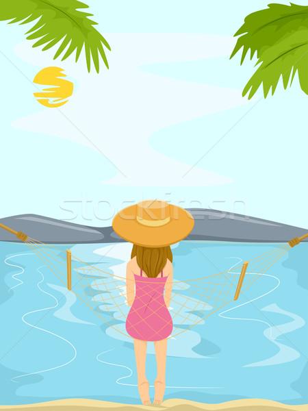 подростка девушка пляж гамак иллюстрация сидят Сток-фото © lenm
