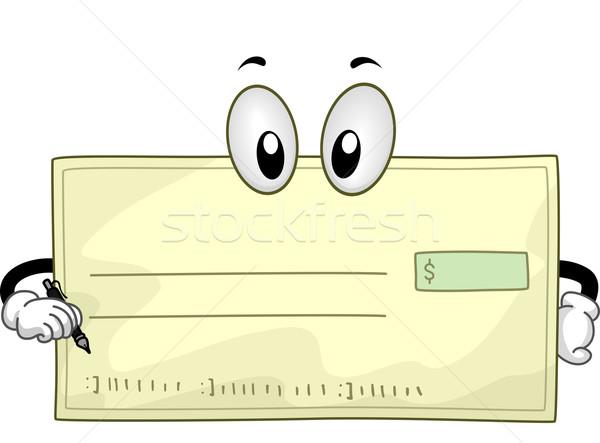 Stock photo: Mascot Blank Check
