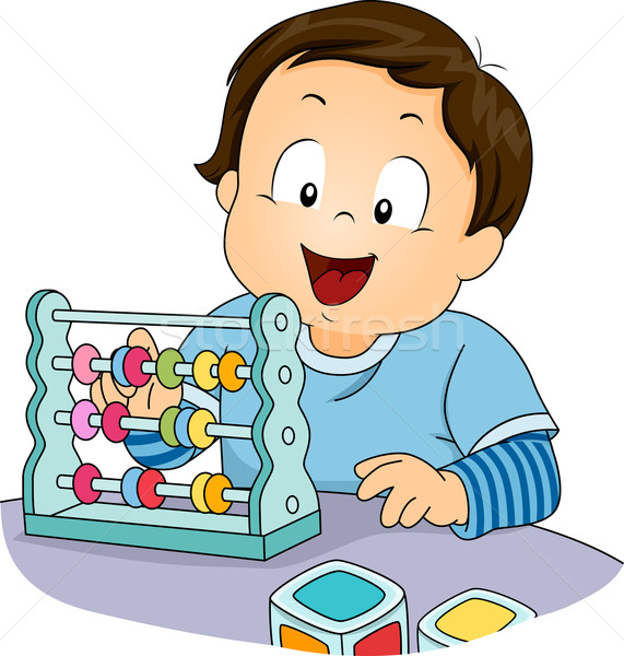 Kid Boy Toddler Abacus Stock photo © lenm