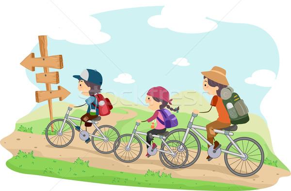 Família camping ilustração trio crianças criança Foto stock © lenm