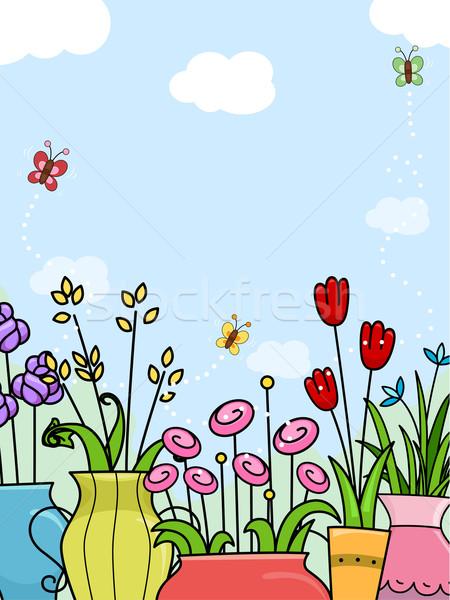 Stock fotó: Virágok · háttér · illusztráció · terv · kert · rajz
