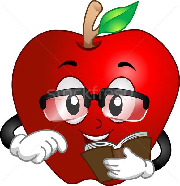яблоко чтение книга иллюстрация школы Сток-фото © lenm