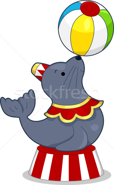 Circus Seal with Ball Stock photo © lenm