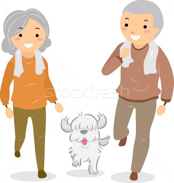 Senior Couple Walking their Dog Stickman Stock photo © lenm