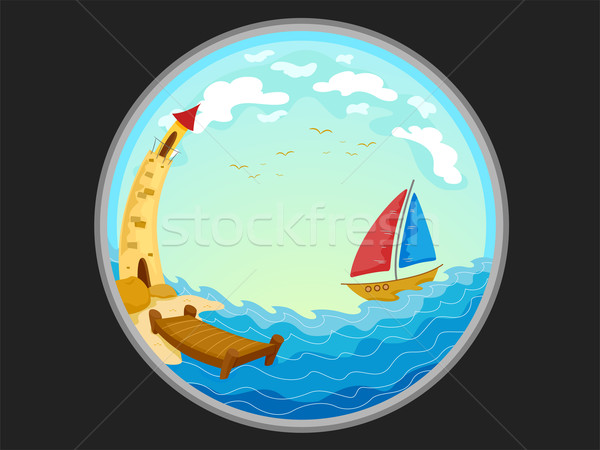 Telescopic View of a Boat and a Lighthouse Stock photo © lenm