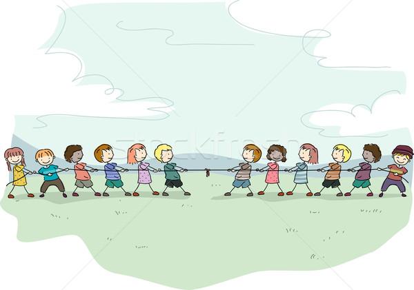 Guerra stick ragazzi illustrazione bambini giocare scuola Foto d'archivio © lenm