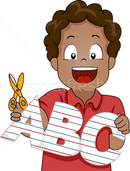 Kid Boy with ABC letters Paper Cutout Stock photo © lenm