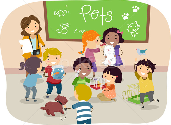 Stickman Kids with Pets in Classroom Stock photo © lenm