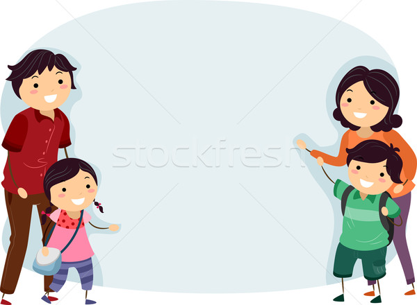 Stickman Family Banner Stock photo © lenm