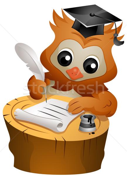 フクロウ 書く 手紙 インク 文書 ストックフォト © lenm
