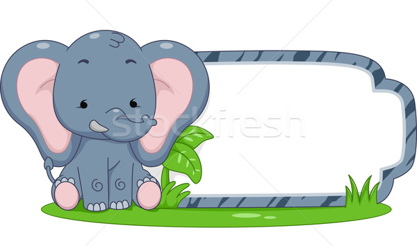 Safari Label Elephant Stock photo © lenm