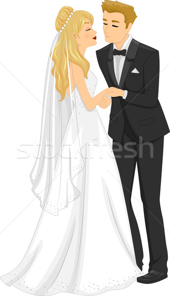 Casamento beijo ilustração recém-casado casal mulher Foto stock © lenm