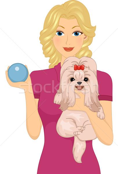 собака игрушку иллюстрация женщину ПЭТ Сток-фото © lenm