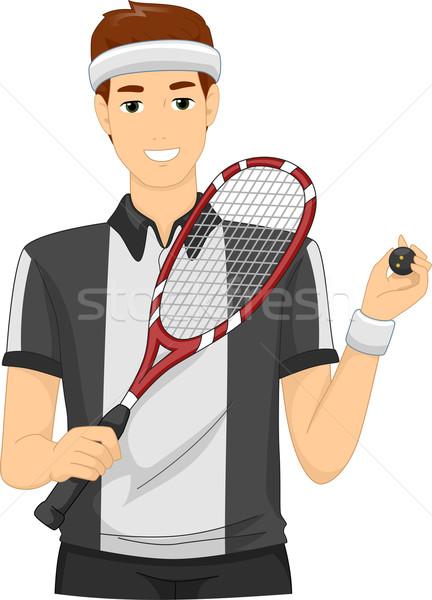 Squash joueur illustration homme balle jouer Photo stock © lenm