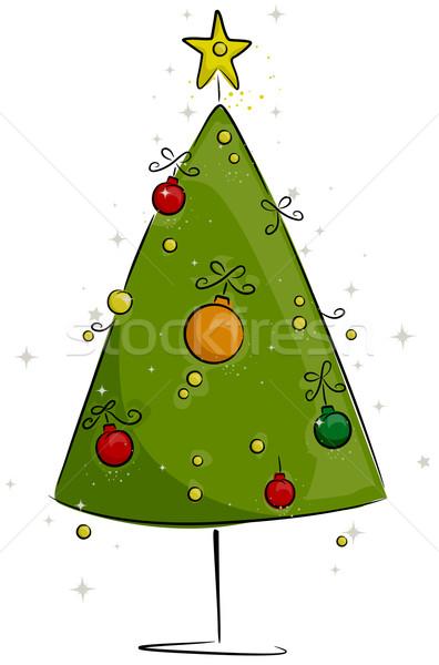Albero di natale design retro guardare Natale illustrazione Foto d'archivio © lenm