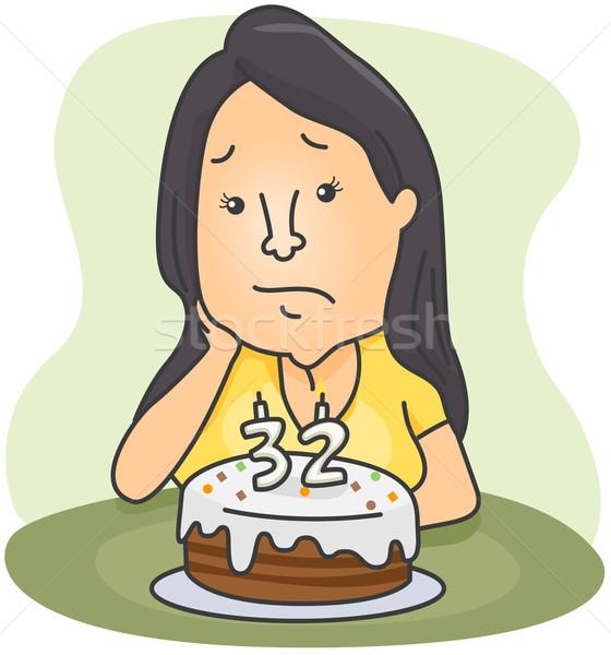 Doğum günü hüzün örnek kadın duygu üzücü Stok fotoğraf © lenm
