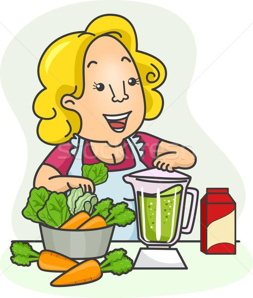 Girl Shake Vegetables Stock photo © lenm