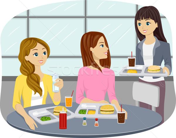 Meisjes teen cafetaria illustratie tienermeisjes eten Stockfoto © lenm