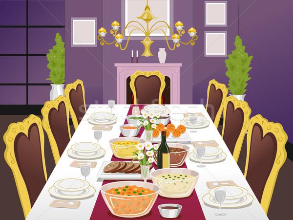 Hivatalos étkezőasztal illusztráció buli háttér belső Stock fotó © lenm