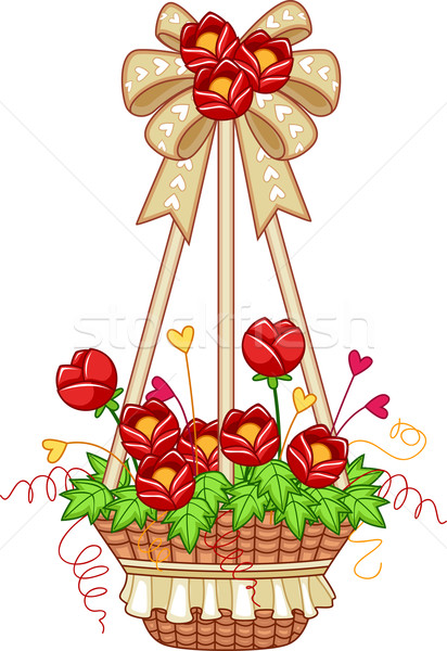Illustration suspendu plantes ruban tulipes Photo stock © lenm