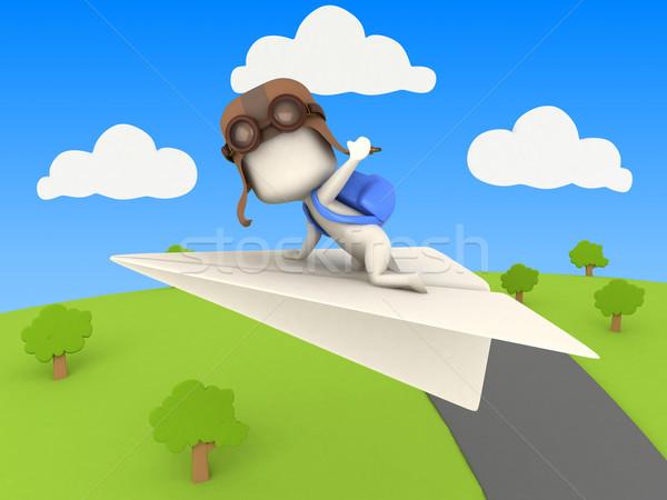 Papier vliegtuig 3d illustration kid paardrijden hemel Stockfoto © lenm