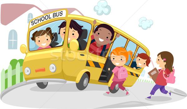 スクールバス 実例 子供 ライディング 方法 学校 ストックフォト © lenm